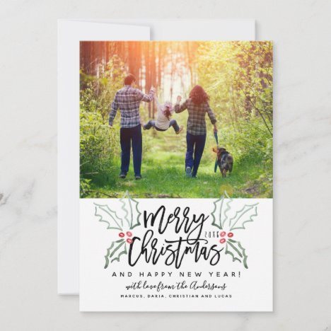 Brush Script Christmas Hollies Holiday Card