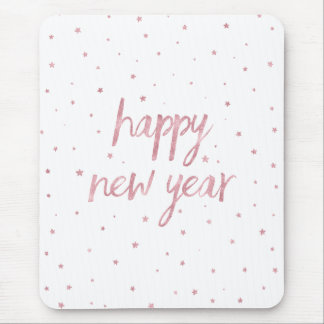 Brush Script Faux Rose Gold Glitter Mouse Pad