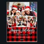 "Brush Script Happy Holidays 4 Photo Red Plaid Postcard<br><div class=""desc"">Modern Brush Script Happy Holidays Red Plaid Postcard -  4 Photos</div>"