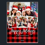 "Brush Script Happy Holidays 4 Photo Red Plaid Postcard<br><div class=""desc"">Modern Brush Script Happy Holidays Red Plaid Postcard -  4 Photos</div>"
