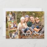 "Brush Script Happy Holidays Family 4 Photo Holiday Card<br><div class=""desc"">Modern Brush Script Happy Holidays Family 4 Photo Card</div>"