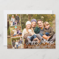 Brush Script Happy Holidays Family 4 Photo Holiday Card