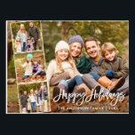 "Brush Script Happy Holidays Family 4 Photo Postcard<br><div class=""desc"">Modern Brush Script Happy Holidays Family 4 Photo Postcard</div>"