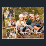 "Brush Script Happy Holidays Family 4 Photo Postcard<br><div class=""desc"">Modern Brush Script Happy Holidays Family 4 Photo Postcard</div>"