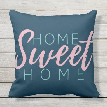 Beach Themed Brush Script in Pink Home Sweet Home Family Name Throw Pillow