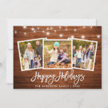 """Brush Script Lights Rustic Wood 3 Photo Holiday Card<br><div class=""""desc"""">Rustic Wood Brush Script 3 Photo Family Happy Holidays Card with String Lights</div>"""
