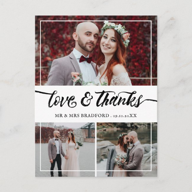 Brush Script Love & Thanks Wedding Collage Announcement Postcard