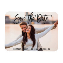Brush Script Save The Date Couple Photo B Magnet