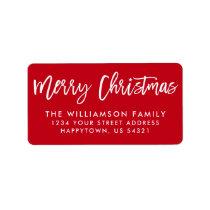 Brush Script Star Merry Christmas Family Label