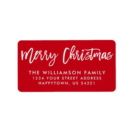brush script star merry christmas family label zazzle com