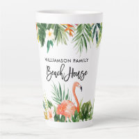 Brush Script Tropical Coral Floral Beach House Lg Latte Mug