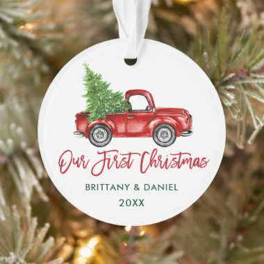 Brush Script Vintage Truck Our First Christmas Ornament