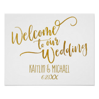 Brush Script Wedding Welcome Sign | (Faux Foil)