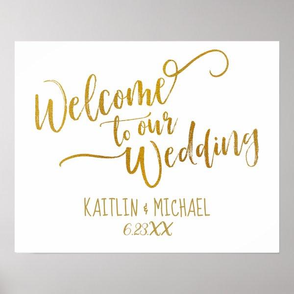 Brush Script Wedding Welcome Sign | (Faux Foil)