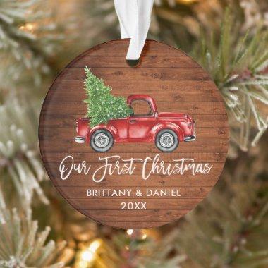 Brush Script Wood Vintage Truck First Christmas Ornament