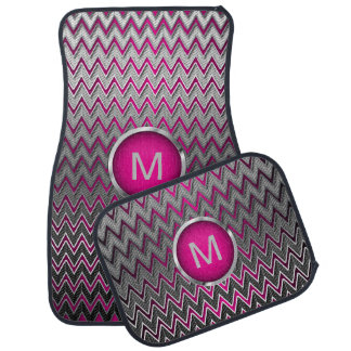 Brush Silver Metallic & Hot Pink Chevron |Monogram Car Floor Mat