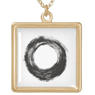 Brush stroke circle texture square pendant necklace
