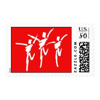 Brush Stroke Dance Trio Stamp in Red