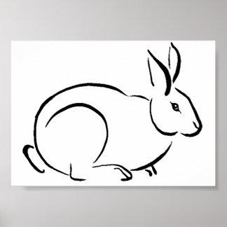 Brush stroke rabbit posters