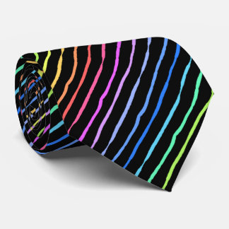 Brush Stroke Rainbow Striped Black Two-sided Neck Tie
