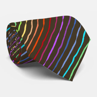 Brush Stroke Rainbow Striped Brown Two-sided Tie