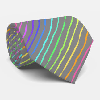 Brush Stroke Rainbow Striped Silver Two-sided Tie
