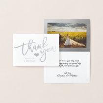 Brush Stroke Silver Foil THANK YOU Wedding | PHOTO Foil Card