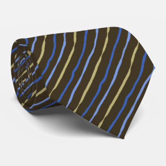 Brush Stroke Striped Brown & Peri Two-sided Neck Tie
