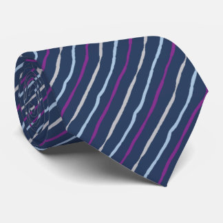Brush Stroke Striped Navy & Violet Two-sided Neck Tie