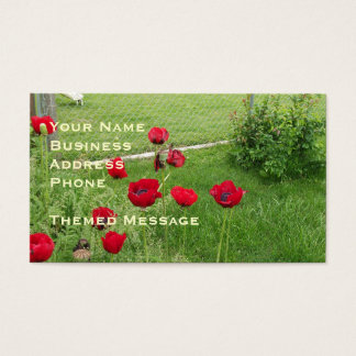Brush Stroked Red Poppies Business Card