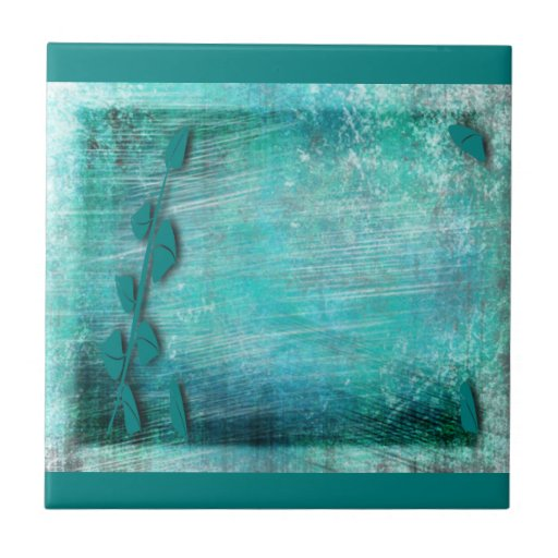 Brush Strokes Abstract Teal and Turquoise Tile