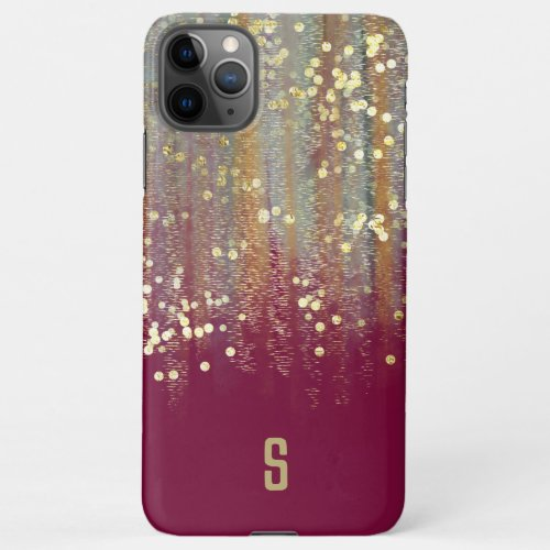 Brush Strokes and Confetti Dots with Gold Monogram Phone Case