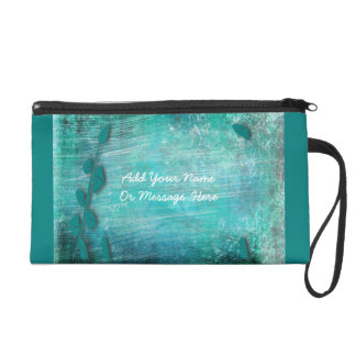 Brush Strokes And Leaves Abstract Wristlet--Teal