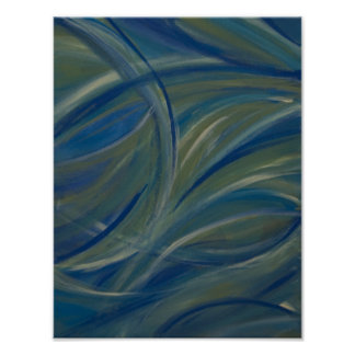 Brush Strokes Blue Green Abstract Acrylic Painting Posters
