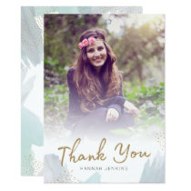 Brush Strokes Grad Photo Thank You Card