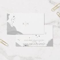 Brush Strokes Monogram Gray Business Card