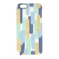 Brush Strokes   Navy and Gold Glitter Clear iPhone 6/6S Case