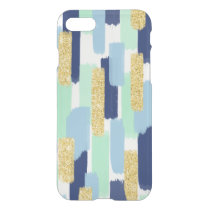 Brush Strokes   Navy and Gold Glitter iPhone 7 Case