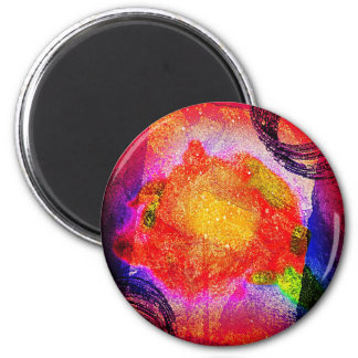 Brush Strokes Paint Creative Digital Bright  Pink Magnet