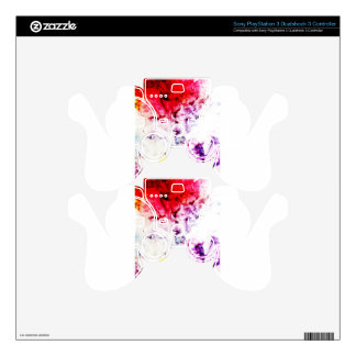Brush Strokes Paint Creative Digital Bright  Pink PS3 Controller Skin