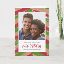 Brush Strokes Photo Christmas Greeting Card