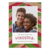 Brush Strokes Photo Christmas Greeting Card