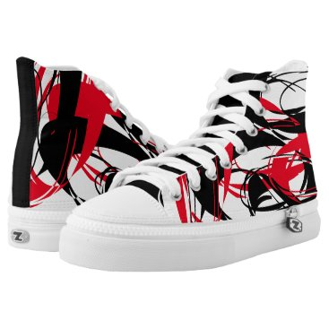"Beach Themed ""Brush Strokes"" Red/Black Abstract Pattern Sneaker"