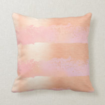 Brush Strokes Rose Gold & Pink Throw Pillow