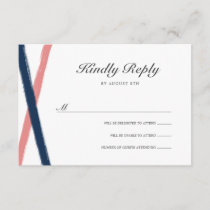 Brush Strokes RSVP Card | Navy Coral