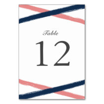 Brush Strokes Table Number Card | Navy Coral