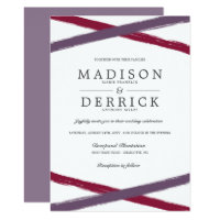 Brush Strokes Wedding Invitations | Lavender Berry