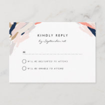 Brush Strokes Wedding Reply Card