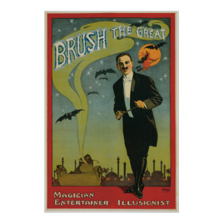 Brush the Great Vintage Magician Poster