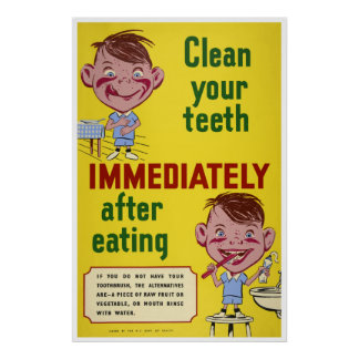 Brush Your Teeth Dental Health Children Poster